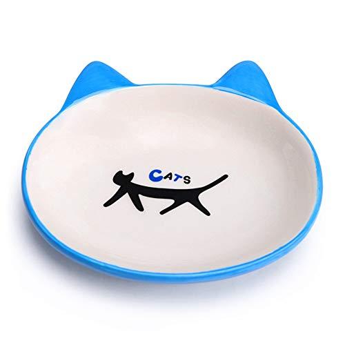 Vnlig Tierschüssel keramisches Material Anti-Rutsch-Katzenfutter Schüssel Haustierschüssel Katzennapf kleine Hundefutter Schüssel süße Katze (Color : Blue)