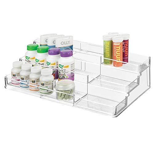 mDesign Organizador de armario botiquín con 3 niveles para vitaminas – Estante extensible para guardar medicinas en el baño – Práctico soporte especiero para la cocina – transparente