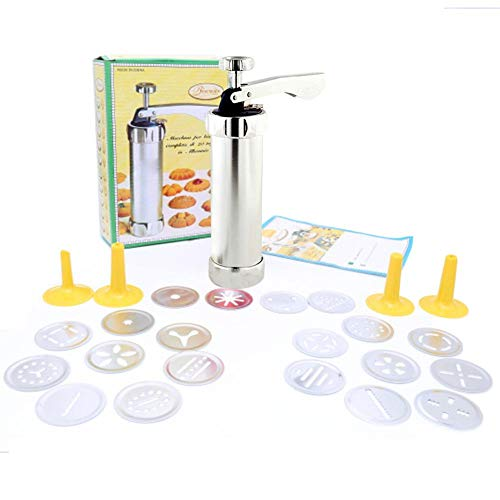 Luoji Gebäckspritze Für Kuchen Und Kekse Gebäckpresse Dekorierspritze Mit Multifunktionales Komfort Griff Cookie Press Pump DIY Dekoration Pistole Kekshersteller Kuchen Dekorationsset
