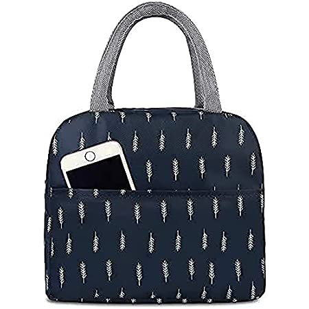 Zofey Women Polyester Lunch Bag, Wide Open Insulated Cooler Bag Water-Resistant for Office Tote Bag, Navy Blue