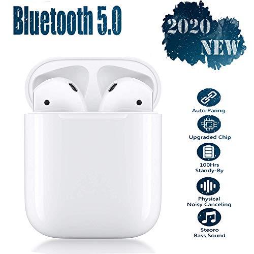 Bluetooth kopfhörer 5.0, Noise-Cancelling,Touch-Steuertasten, kabellose Ohrhörer mit Schnellladekoffer, 3D-Stereoanlage und wasserdichte IPX5-Ohrhörer für Apple Airpods/iPhone/Huawei/Samsung