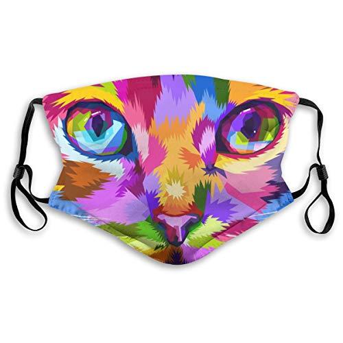 Mascherina per il viso, alla moda, riutilizzabile, motivo della stampa: gatto, per adulti, unisex, antipolvere, anti-smog, con 2 filtri di ricambio, per ciclismo, attività all'aperto, campeggio