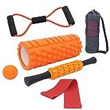 Tallgoo Faszienrolle Foam Roller Set 6 in 1,Muskelroller,Seil Ziehen, Faszienrolle Faszienball Widerstandsbänder und Aufbewahrungstasche,zum Faszien Training der Muskeln