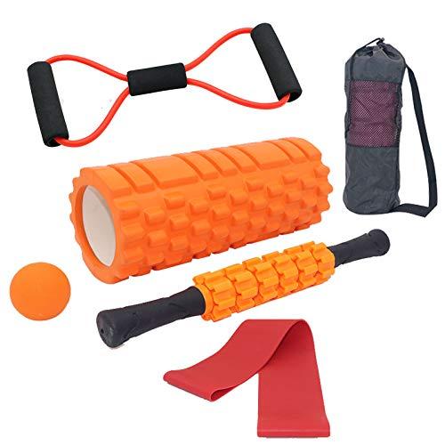Tallgoo Juego de rodillos de espuma 6 en 1, rodillo muscular, rodillo de espuma para entrenamiento de los músculos y terapia del dolo