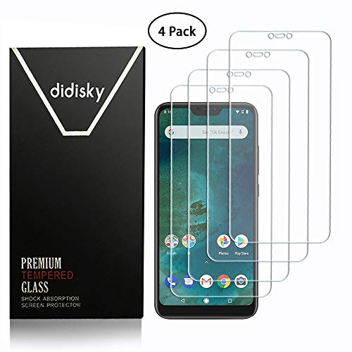 Didisky Tempered Glass Screen Protector for Xiaomi Mi A2 Lite, [Soft Touch] Easy to Clean, Easy to Install, Transparent [4 Pieces]