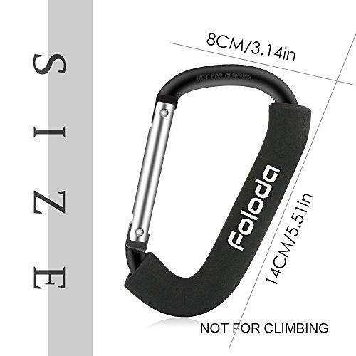 [Ganci per Passeggini] Foloda Pacco da 2 Passeggino Ganci Grande Dimensioni/Moschettoni Multi-Purpose Anello D-Ring Robusto per Diaper Bag, Borse e Altro