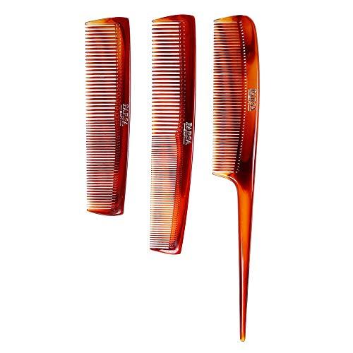 PARSA Beauty 3-teiliges Kammset mit Stielkamm, Frisierkamm und Taschenkamm in braun aus 100% recyceltem Material Made in Germany