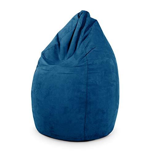 Green Bean © Drop Sitzsack 60x60x90 cm - 220L - Indoor - Sitzhöhe 50 cm, Rückenlehne 40 cm - waschbar, schmutzabweisend, abwischbar - Sitzkissen Bean Bag Gaming Sessel - Wildleder Optik - Blau