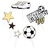 LWZko 6 Piezas Feliz cumpleaños Topper, Decoración de Pastel Cumpleaños, Torta de Fútbol, Torta Cumpleaños para Baby Boy, Fiesta de Futbol Decoración de Fiesta Deportiva