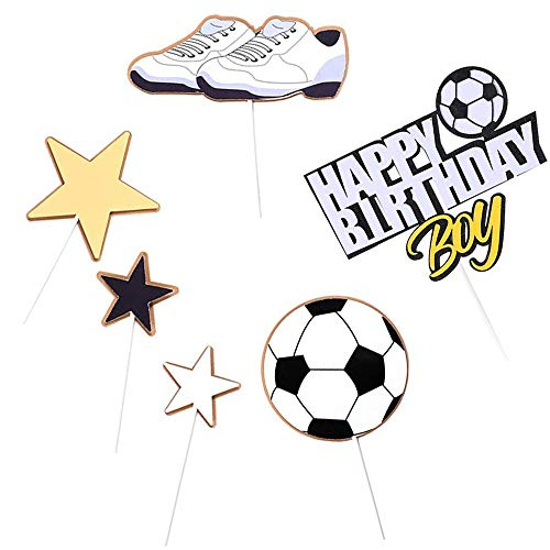 6 Piezas Feliz cumpleaños Topper, Decoración de Pastel Cumpleaños, Torta de Fútbol, Torta Cumpleaños para Baby Boy, Fiesta de Futbol Decoración de Fiesta Deportiva