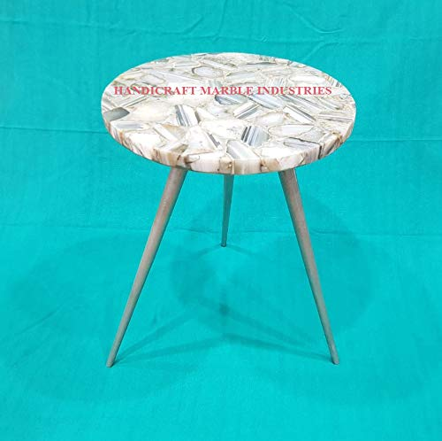Must Have 15 Inch Round Natural Grey White Brown Agate Coffee Table With Metal Base Stone Coffee Table Agate Table Top Agate Round Coffee Table From Handicraft Marble Shop Accuweather Shop