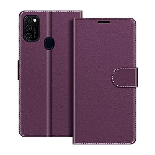 COODIO Handyhülle für Samsung Galaxy M21 Handy Hülle, Samsung Galaxy M21 Hülle Leder Handytasche für Samsung Galaxy M21 Klapphülle Tasche, Violett