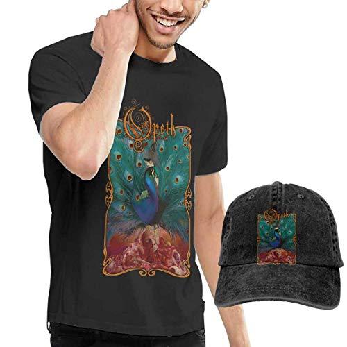Thimd Camiseta de Manga Corta para Hombre,Gorra de béisbol Combinación Negro Opeth Sorceress T-Shirts and Washed Denim Baseball Dad Hat Black