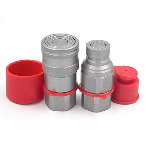 1/2 NPT Thread Skid Steer Bobcat Flat Face Hydraulic Quick Connect Couplers/Couplings Set w/Dust Caps