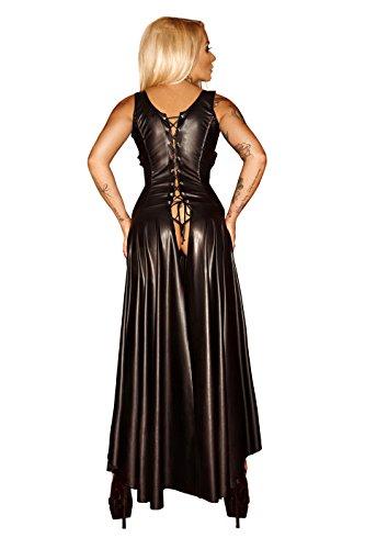 Noir Handmade Schwarzes Damen Dessous fetisch Maxikleid Wetlook Kleid mit Schnürung brustfrei lang L