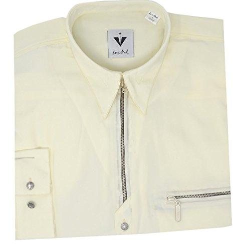 Leché Designer-Hemden-Shirt in Champagnerfarben mit Reißverschluss (M)