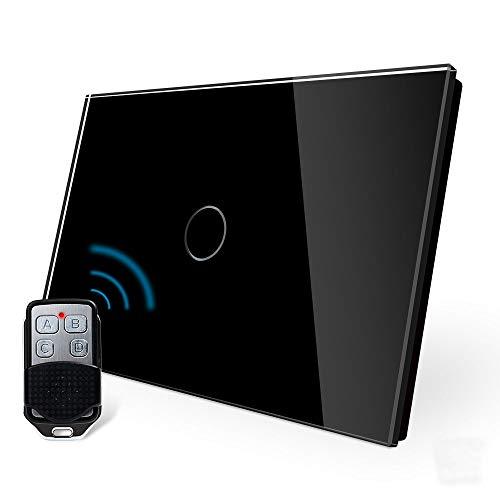 LIVOLO Wireless Remoto Interruttore della Luce con Indicatore LED Touch Switch con Pannello in Cristallo Toccare Interruttore a parete per Illuminazione Domestica,1 Gang 1 Way,C901R-12