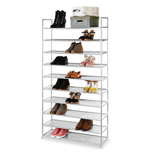 ROSEBEAR Zapatero organizador de 10 niveles para sala de estar, entrada, pasillo y guardarropa, color gris