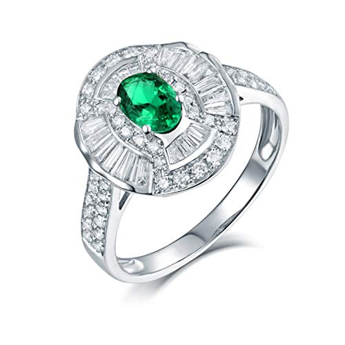 AnazoZ Anillos Mujer Plata Esmeralda Verde,Anillo Mujer Oro Blanco 18 Kilates Compromiso Plata Verde Oval Esmeralda Verde 0.5ct Diamante 0.95ct Talla 21