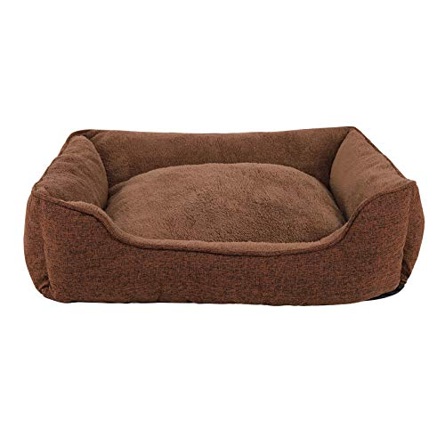 dibea Hundebett meliert Hundekissen Hundekörbchen Bezug abnehmbar 75x60 cm Außenmaß Braun