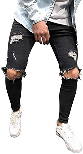Crystallly Jeans Para Hombre Hombre Strech Delgado Destruidos Ajuste Jeans Pantalones Estilo Simple Niños Pantalones Casuales Pantalones De Los Hombre Streetwear De Los Hombre Flaco Cónicos Torn Denim
