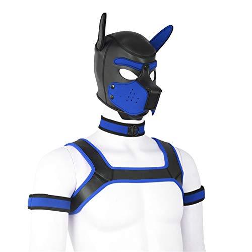YiQin RWSX 4 Sets Neoprene Puppy Hood Animal Head Mask Novelty Costume Dog (Hood Mask + Collar + Armband + Harness) (Color : Blue, Size : Medium)