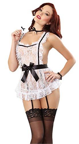 Rapidly Lingerie Damen Sexy Hausmädchen Kostüms,Sexy Dessous Mädchen Magd Halloween Rollenspiele Transparent Nachtwäsche Maid Kostüm Bodysuit Reizwäsche