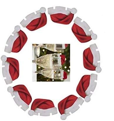 CHIPYHOME 20 Unds. de gorritos de Navidad para decoración de Copas y Vasos o sobre Tarjetas con Nombre de Invitados cenas Style