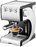 Nuokix inländisch Halbautomatische Kaffeemaschine Pumpendruck Kaffeemaschine Dampf Milch und Schaum-Maschine (Farbe: Silber Schwarz)