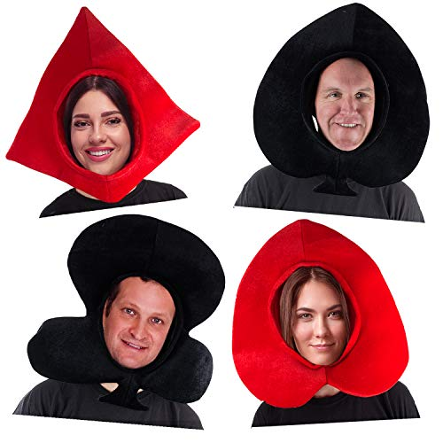 Tigerdoe Playing Cards Costume Hats – Poker Party Hats – Queen of Hearts – Novelty Hats – Deck of Cards Costume – 4 Pack Black