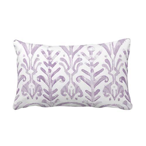 Meg121ace - Funda de almohada o funda de almohada con estampado de acuarela, color lavanda, blanco 14 x 20 pulgadas, fundas de almohada o fundas de almohada lumbar, color morado claro, impresión IkatBoho