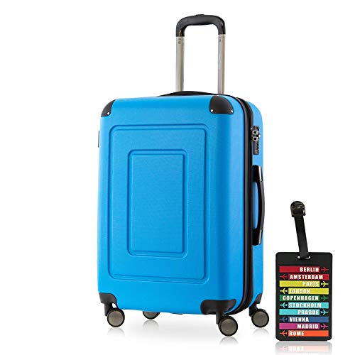 Happy Trolley - Lugano Hartschalen-Koffer Koffer Trolley Rollkoffer Reisekoffer Lugano, sehr leicht, TSA, 66 cm, 78L Cyan Blau + Design Kofferanhänger