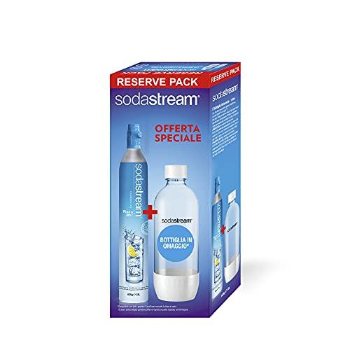 SodaStream Cilindro Ricarica Gas CO2 in Licenza d'Uso per Gasatore + Bottiglia PET da 1 Litro per Gasatore