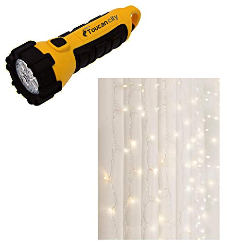 Toucan City LED Flashlight and Merkury Innovations 96-Light 4 ft. Warm White LED Curtain Cascading Lighting MI-CCS02-199