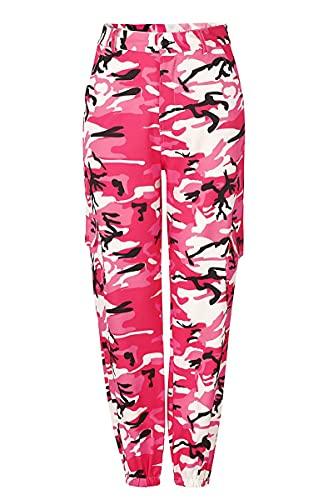fanshion goup Pantalones de chándal para mujer, cintura alta, pantalones de harén, sueltos, para gimnasio, yoga, pantalones de camuflaje con bolsillos, rosso, S