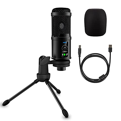 REEKIO USB Computer Microphone, Gaming Microphone with Tripod Stand, 192KHZ/24BIT PC Condenser Microphone for Recording Streaming YouTube Zoom Podcasting, Compatible with Windows Mac OS PS4