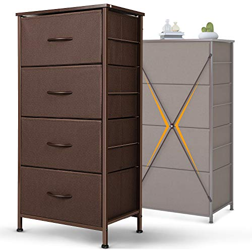 Dresser w/ 4 Drawers, Fabric Storage Tower, Brown for $39.99 + Free Shipping