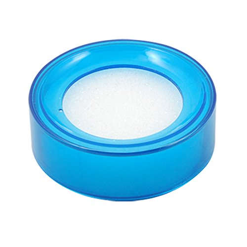 uxcell a10080600ux0113 Plastic Round Office Case Sponge Cup Finger Moisteners Wet Money Casher Blue