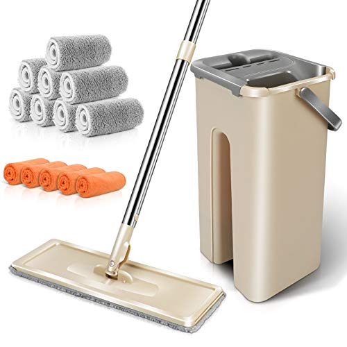 MASTERTOP Floor Mop and Bucket - Dust Mop Bucket with Wringer Set, Stainless Steel Handle, 8 Reusable Microfiber Mop Pads, 5 Cleaning Cloth, Hardwood Floor Cleaner Mops