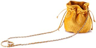 Ulisty Damen Samt Kordelzug Klein Beuteltasche Mini Eimer Tasche Schultertasche Handtasche Umhängetasche Gelb