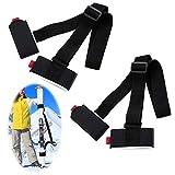 Cinghie Porta Sci Tracolla Regolabile con Cinturino Imbottito Tracolla da Sci Regolabile Tracolla da Snowboard Cinghie da Ski Tracolla Portasci per Portatile Lo Sci All'aperto Nylon Nero 2 Pezzi