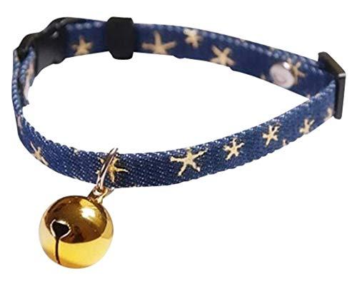 GJTr 猫 ねこ 用 首輪 鈴 付き バックル 式 サイズ 調節 可能 星 柄 ネイビー × ゴールド