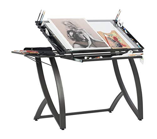 SD STUDIO DESIGNS Futura Luxe Drawing, Drafting, Craft Table with Drawer, 35' Wide Angle Adjustable Top and Side Shelf, Pewter Grey/Clear Glass