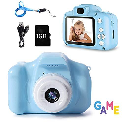 Kinder Kamera, Kinderkamera Digital Fotokamera Selfie, 2Zoll Digitalkamera 8M Pixel, vorderes und hinteres Objektiv, mit Blitzlicht, Fun Junge Mädchen Kamera 1GB SD-Karte, Blau