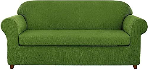 erddcbb Funda de sofá de Jacquard granulado de 2 Piezas, Funda de sillón de Spandex de Alta Elasticidad, Protector de Muebles de Moda, Abrigo de cojín elástico Reutilizable (Verde, 3 plazas/sofá)