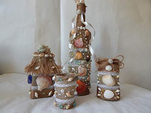 Dekorierte Flaschen und Gläser, 4 teiliges Set
