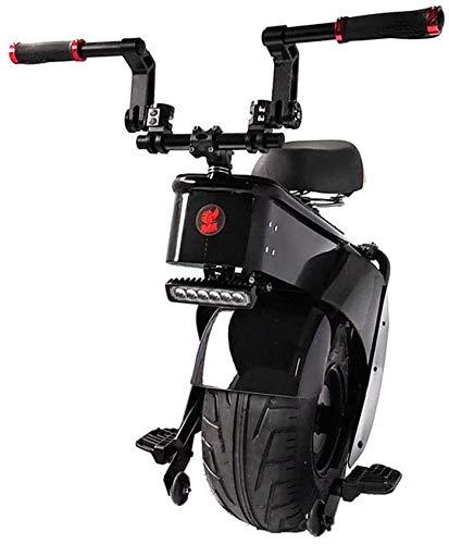 JILIGUALA Motorino Elettrico 1500W Una Ruota Moto Sedile dello Scooter autobilanciamento 28 km / 45 km / 60 km / 90 km 60V Scooter elettrici monoruota Pneumatici Larghi da 18 Pollici (Dimensioni, 2.