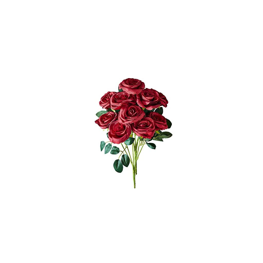 Kislohum Artificial Flowers Roses Burgundy 2 Bundles Fake Silk Roses for Home Decor DIY Wedding Bridal Bouquets Centerpieces Arrangements Baby Shower Flower Decoration with 10 Heads Totally