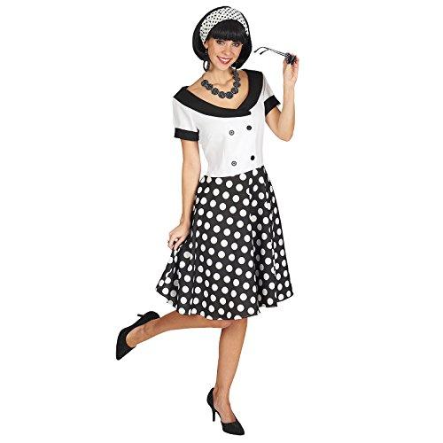 Fifties Girl Kostüm Rockabilly Fünfziger Jahre Kleid Damen weiß schwarz - 44/46
