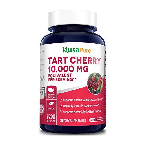 Tart Cherry 10,000mg - 200 Veggie Caps (Vegan, Non-GMO & Gluten-Free) Antioxidant Support - Naturally Occurring Anthocyanins*